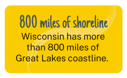 Wisconsin has more than 800 miles of Great Lakes coastline